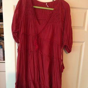 Free people rose colored midi dress medium